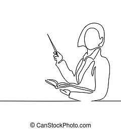 Teacher with book and pointer. Continuous line drawing...