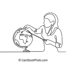Teacher with pointer and globe. Continuous line drawing...