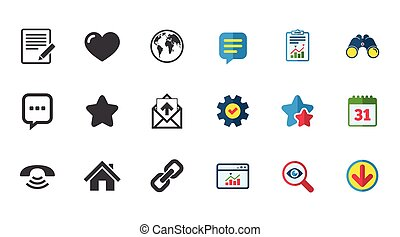 Mail, contact icons. Communication signs. - Mail, contact...