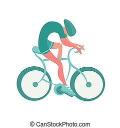 Cyclist icon. Bicycling vector illustration, isolated on white.