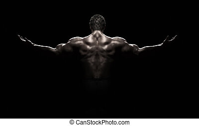 Bodybuilder in a challenging position on a black background....