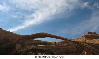 Landscape Arch - Time lapse clouds over Landscape Arch,...