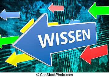 Wissen - german word for knowledge - text concept on blue...