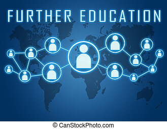 Further Education - text concept on blue background with...
