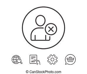Remove User line icon. Profile Avatar sign. Person...