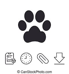 Dog paw sign icon. Pets symbol.
