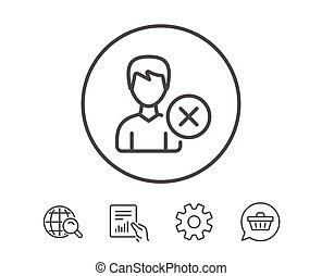 Remove User line icon. Male Profile sign. - Remove User line...