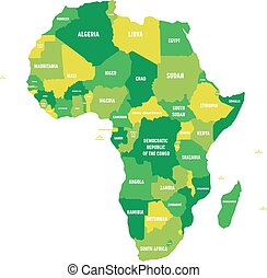 Political map of Africa in four shades of green with white country name labels on white background. Vector illustration