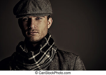 seasonal clothing style - Male beauty, fashion. Portrait of...