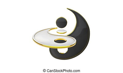 Yin Yang (the energy of life). Constant struggle of two opposites. Eastern culture and philosophy. 3D animation