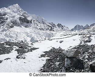 Everest base camp area and Khumbu icefall