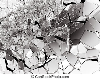 Pieces of splitted or cracked glass on white. 3d rendering...