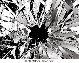 Pieces of splitted or cracked glass on black. 3d...