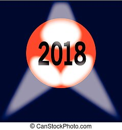 2018 Globe - A spotlit globe with the year 2018 in large...