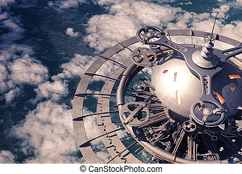Futuristic Sky Station Over The Clouds
