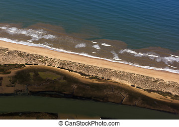 Aerial view to the beach of Faro, Portugal