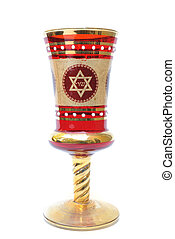Seder Cup - A seder cup with a star of david, used in...