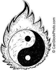 Hand Drawing of Yin Yang Jin Jang Symbol - Hand drawn vector...