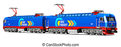 Modern heavy freight electric locomotive - Creative abstract...