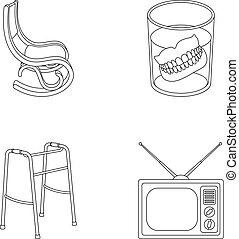 Denture, rocking chair, walker, old TV.Old age set...