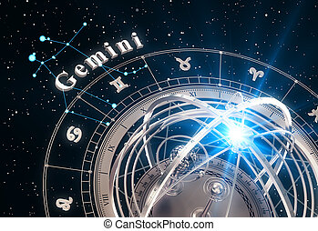 Zodiac Sign Gemini And Armillary Sphere On Black Background....