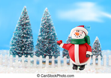 Christmas trees and snowman - Decorated christmas tree...