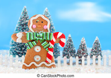 Christmas trees and gingerbread man - Decorated christmas...