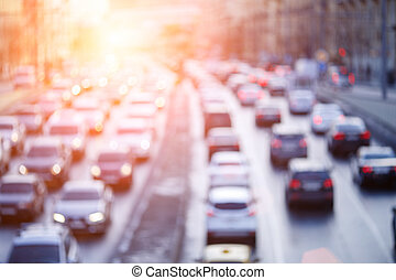 Urban road with moving cars - Blurred photo urban road with...