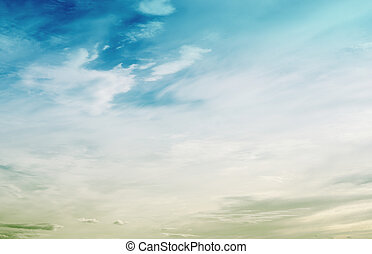 Colors in sky and clouds. Summer ultramarine