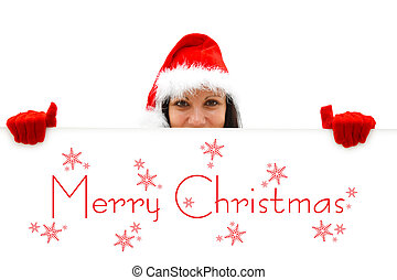 Female Santa wishing Merry Christmas - Female Santa with red...