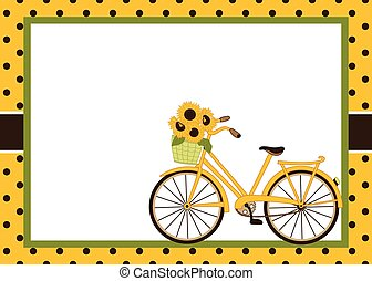 Vector Card Template with Bicycle and Sunflowers. Vector Bicycle and Sunflowers.