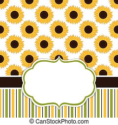 Vector Card Template with Sunflowers. Vector Sunflower.