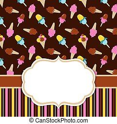 Vector Card Template for Birthday and Party. Card Template with Ice Cream. Ice Cream Vector Illustration.