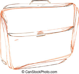 briefcase - leather briefcase, sketch on white