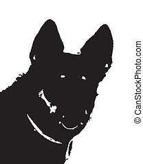 German shepherd - big dog fullface, isolated silhouette