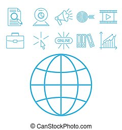 Flat outline icons online education staff training book...