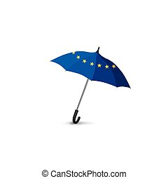 Euro union flag colored umbrella. Travel Europe fashion sign