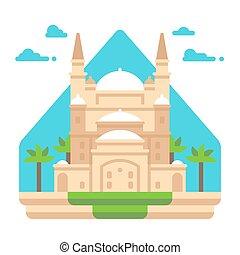 Flat design Mosque of Muhammad Ali illustration vector