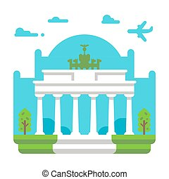 Flat design Brandenburg gate illustration vector