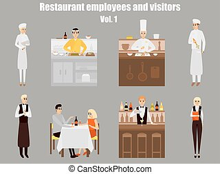 Restaurant workers cartoon characters. People work in restaurant isolated. Japanese cook cooking sushi. Couple on a date in cafe. Vector illustration in flat style design