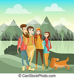 Family hiking in mountains concept vector poster in flat style. Cartoon people characters. Family outdoor activity