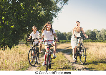 Family riding on bicycles in meadow at sunny day