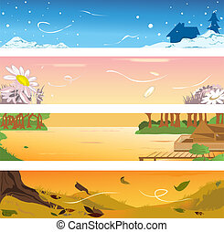 Four seasons banners - Vector illustrations of banners of...