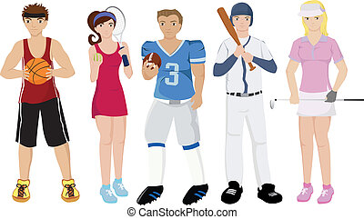 Athletes illustrations - Vector illustrations of a group of...