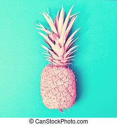 Pink pineapple on a blue background - Painted pink pineapple...