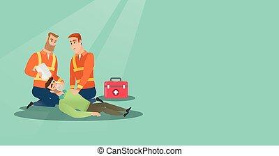 Emergency doing cardiopulmonary resuscitation - Caucasian...