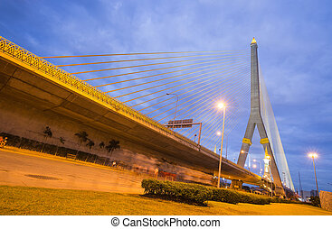 Rama VIII Bridge During the night With lights at the park