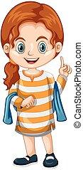 Little girl pointing finger up illustration