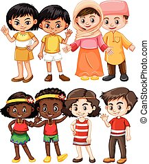Happy children from different countries illustration