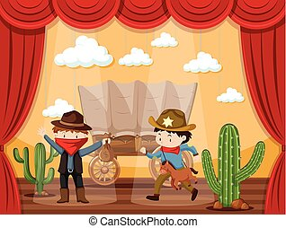 Stage play with two cowboys illustration